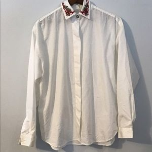 Vintage 90s White Blouse with Christmas Embroidery